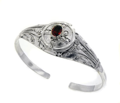 Medieval Sterling Silver Genuine Garnet Locket Box Poison Cuff Bracelet by
