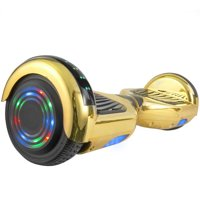Chrome Self-Balancing Hoverboard w/Bluetooth Speaker, UL2272 Certified -Flashing Light-Up Wheels-LED Lights- Chrome Gold