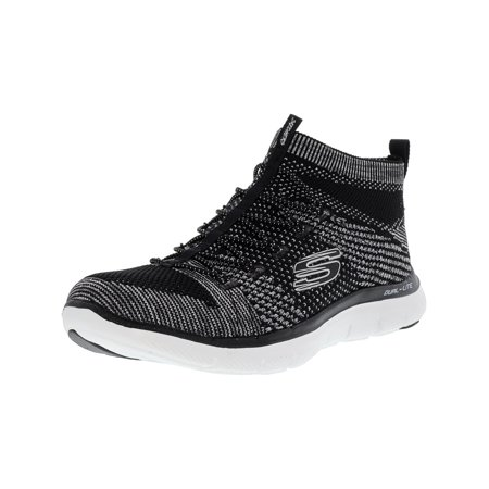 Skechers Women's Flex Appeal 2.0 Hourglass Black White Ankle High Slip On Shoes 10M