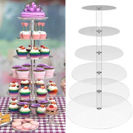 Three Tier Serving Stand (Round Acrylic Cupcake Tower Stand Wedding Birthday Display 6)