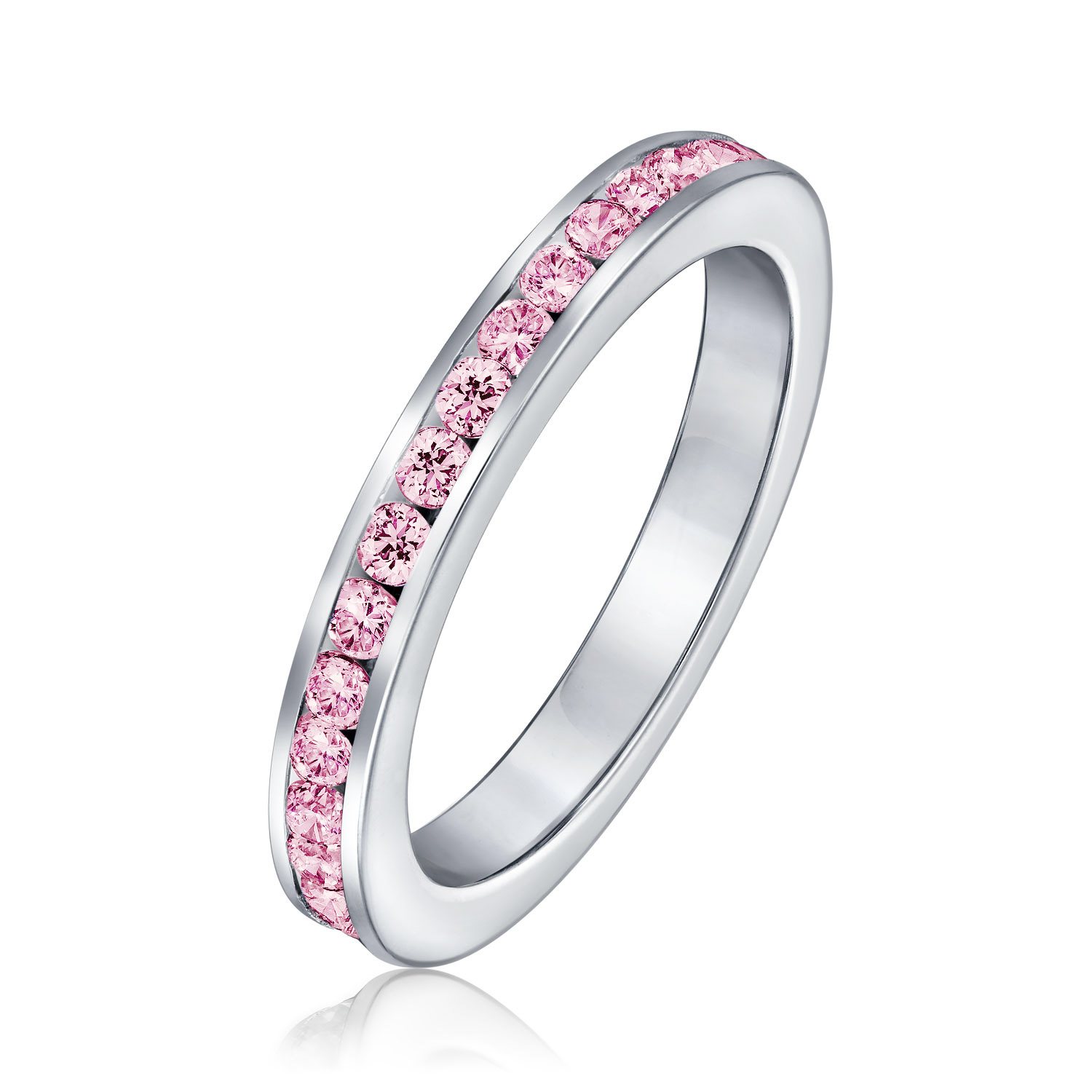 Bling Jewelry Silver Simulated Pink Tourmaline Cubic Zirconia October Birthstone Ring by Bling Jewelry