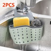 "1/2pcs Sink Basket, Adjustable Sink Drain Rack Multifunctional Drain Shelf Storage Rack Kitchen Bathroom Support Corner Hanging Shelf Sponge Box, Sink Storage Tool Drain Rack (13x22cm/5.12""x8.67"")"