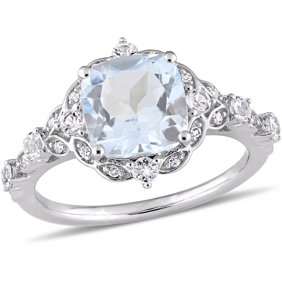 Tangelo 2-3 5 Carat T.G.W. Aquamarine, White Sapphire and Diamond-Accent 14kt White Gold Vintage Ring by Tangelo