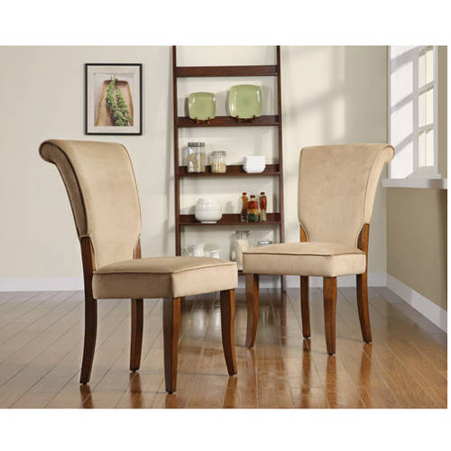 Homelegance Light Brown Velvet Parsons Side Dining Chair, Set of 2, Brown Finish