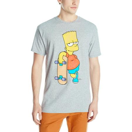 The Simpsons Mens T-Shirt - Bart Distressed Classic Skateboard Pose (Simpson Tshirt)