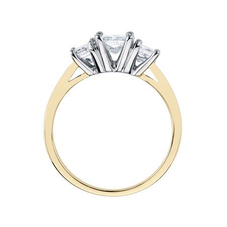 1/4 Carat (ctw H-I, I1-I2) Princess Cut Three Stone Diamond Anniversary Engagement Ring in 14K Yellow Gold - image 1 de 2