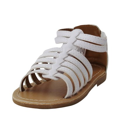 b602958283f Stepping Stones Little Girls Gladiator White Sandals Girls Strappy Sandals  For Casual or Dress Size 7 Open Toe Summer Sandals Infant Toddler Kids Shoes  for ...