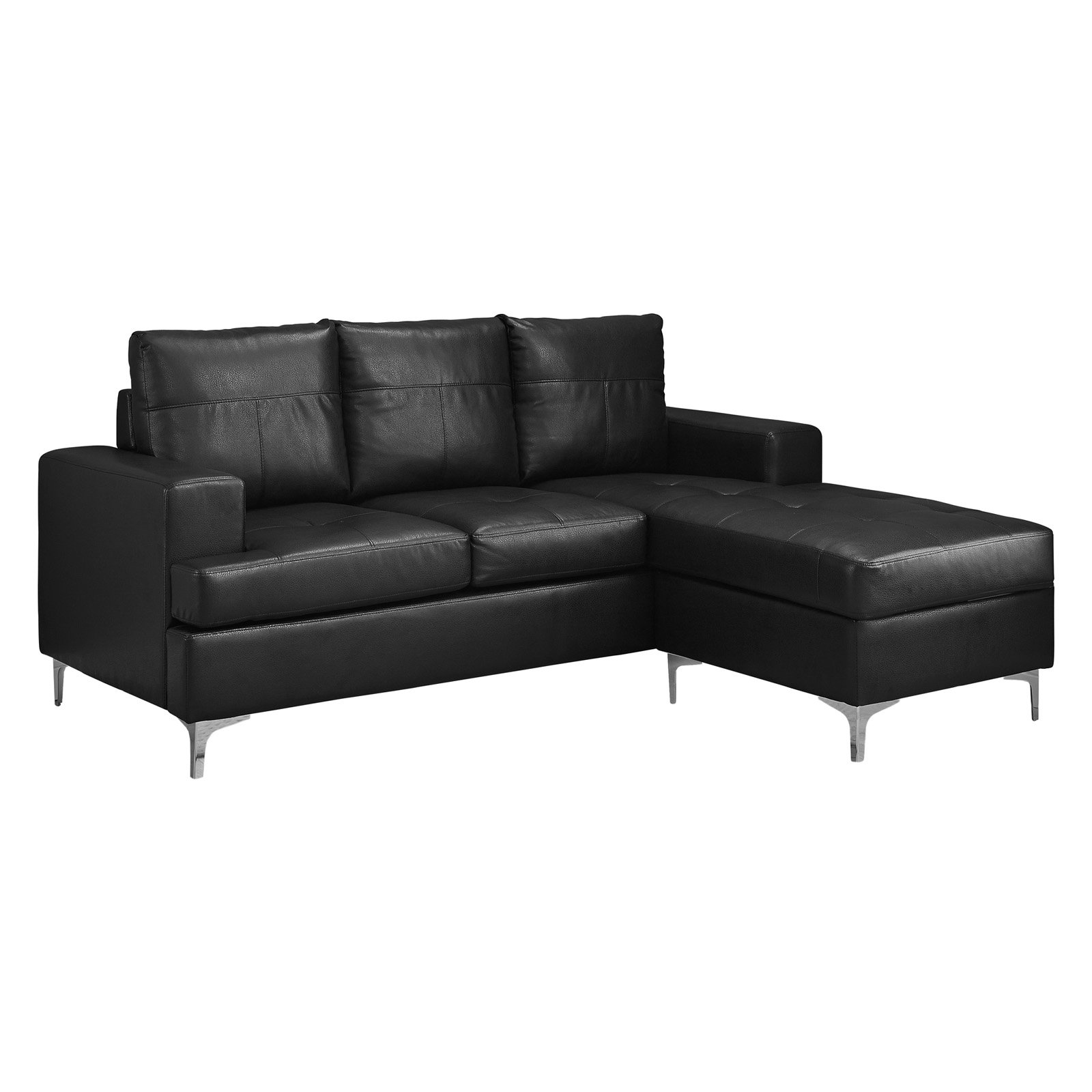 Monarch Sofa Lounger   Black Bonded Leather