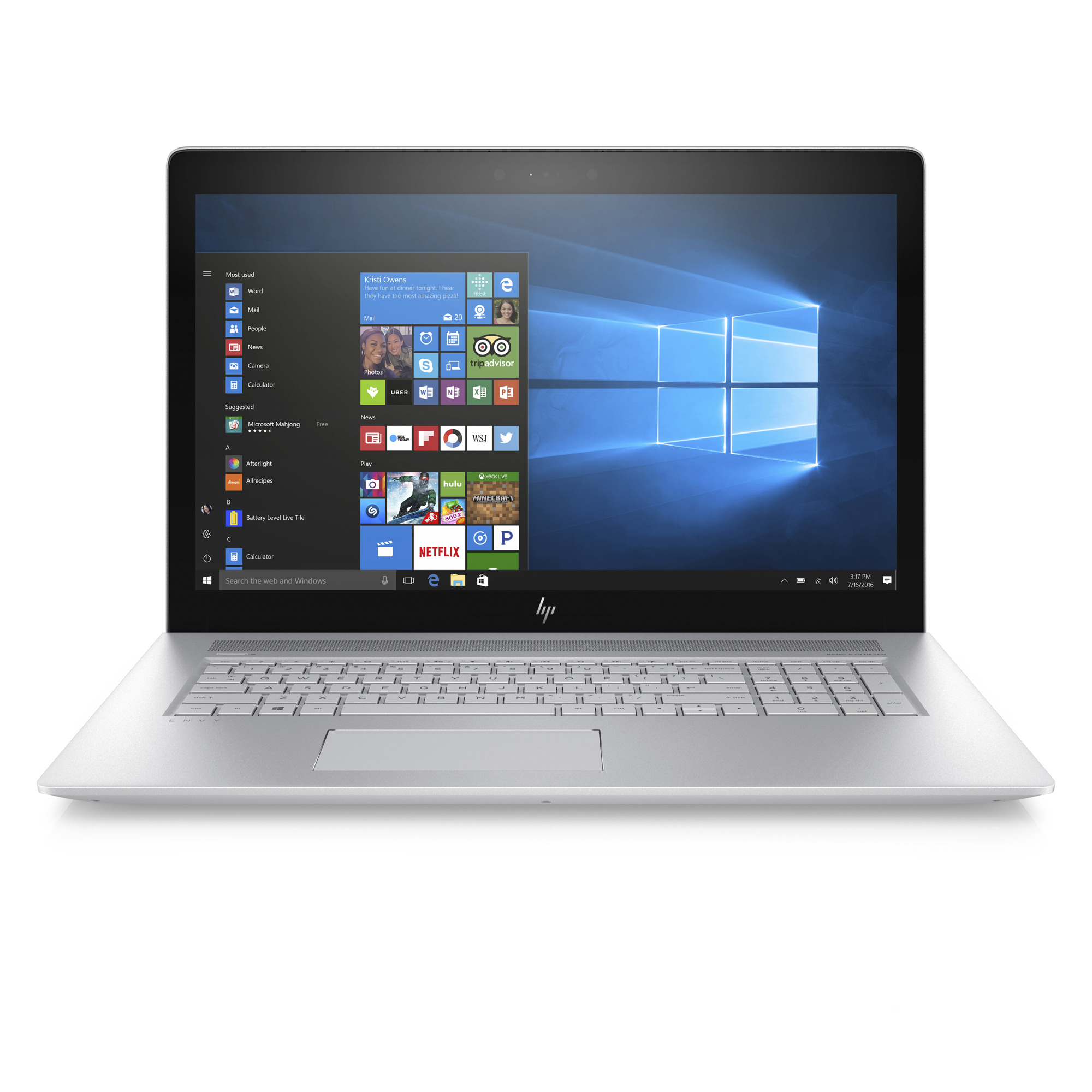 HP Envy 17-AE110NR Natural Silver 17.3 inch Touch Laptop, Windows 10, Core i7-8550U QC Processor, 12GB Memory, 1TB Hard Drive, DSC MX150 4GB Graphics, DVD, Backlit, Bang & Olufsen