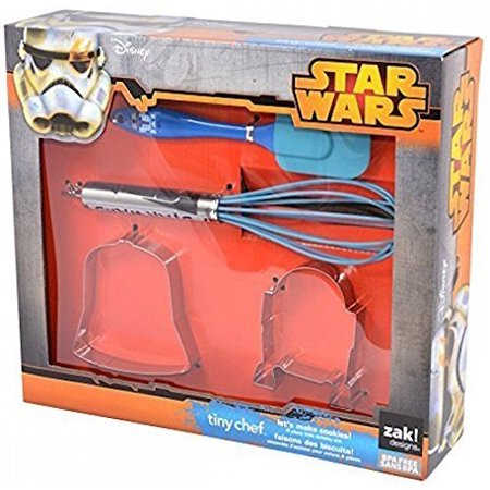 Star Wars Tiny Chef Baking Set for Darth Vader and R2D2 Cookies: 2 Cookie Cutters, Spatula and Whisk, 4-pc Set, 4-piece set includes two stainless.., By Zak - Star Wars Baking