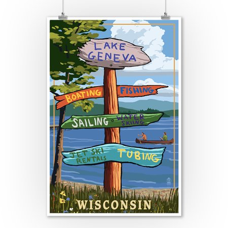 Lake Geneva, Wisconsin - Destination Signpost - Lantern Press Poster (9x12 Art Print, Wall Decor Travel