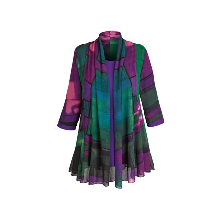 Jacket Tunic Skirt (Women's Tunic Jacket - Purple Paradise Open Front Cardigan And Top)