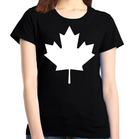 Shop4Ever Women's Canada White Leaf Proud Canadian Flag Graphic T-Shirt ()