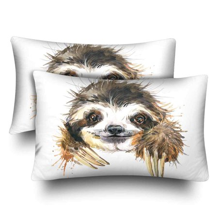 GCKG Watercolor Sloth Pillow Cases Pillowcase 20x30 inches Set of 2 Hipster Animal Sloth - image 4 de 4