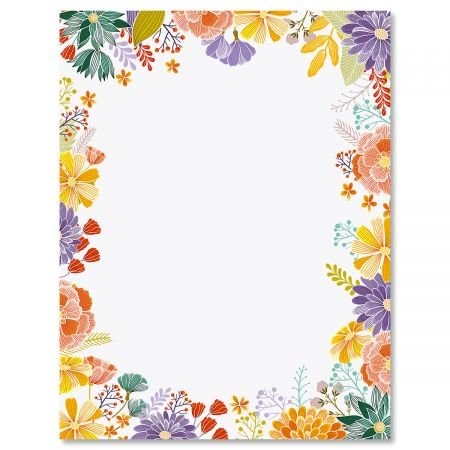 Wildflower Frame Easter Letter Papers - Set of 25 spring stationery papers are 8 1/2