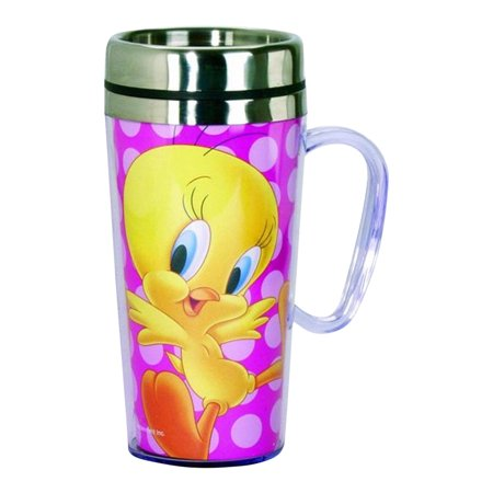 Tweety Bird Insulated Travel Mug with Lid 16 Ounce Coffee Tea Latte