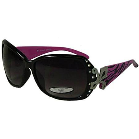 e9a3343d74d9 Texcyngoods - Womens Rhinestone and Fleur de Lis Sunglasses UV400  Protection Polycarbonate Lens Oversize Plastic Frame (Zebra Pink) -  Walmart.com