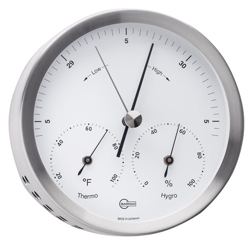Barigo Steel Series Barometer-Thermometer-Hygrometer - Stainless Steel Housing Steel Series Barometer-Thermometer-Hygrometer - Stainless Steel Housing