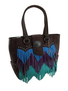 ad2f7b6441 Product Image Blue Purple and Green Chevron Fringe Studded Brown Shoulder  Bag
