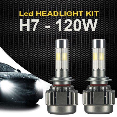 2PCS 120W 12000LM COB H7 LED Car Headlight Kit White Beams 6000K