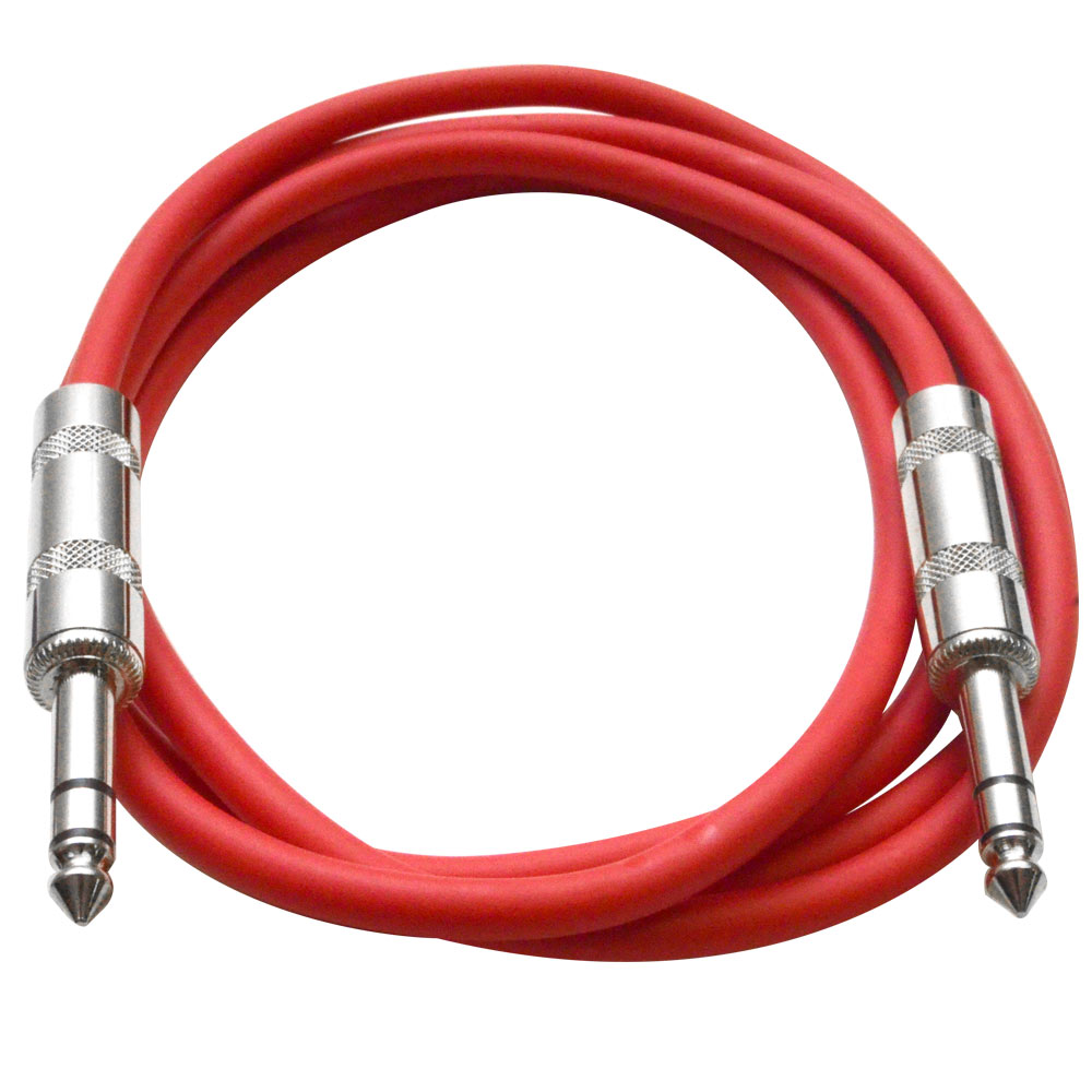 """Seismic Audio  - Red 1/4"""" TRS 6' Patch Cable - Effects Red - SATRX-6Red"""