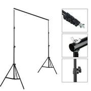 Kshioe Background Support Stand Photo Backdrop Crossbar Kit Lighting Studio Set 2*3M 3 Clips Black