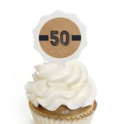 50th Milestone Birthday - Cupcake Picks with Stickers - Birthday Party Cupcake Toppers - 12 Count