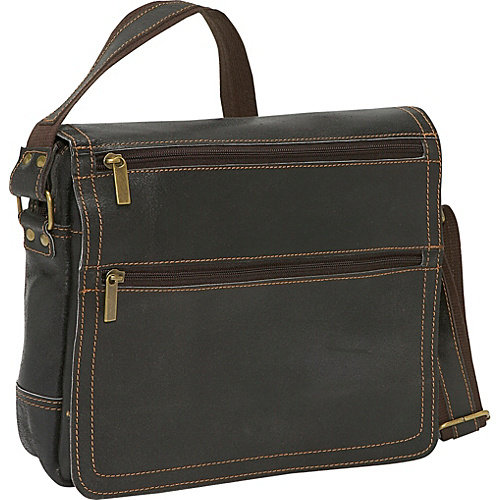 David King & Co. Double Zip On The Flap Messenger Distressed, Cafe, One Size