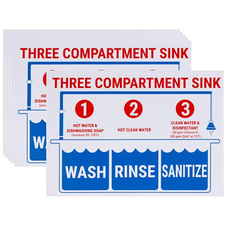 Sink Signs - 6-Pack Sink Sticker Labels, Wash Rinse Sanitize Labels for 3 Compartment Sink, Food Prep Sign in English, for Restaurant, Kitchen, Food Truck, Bussing Station, Dishwashing, 10 x 7