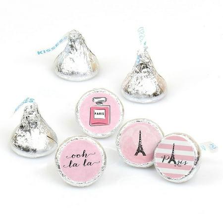 Paris - Party Round Candy Sticker Favors Labels Fit Hershey's Kisses (1 sheet of 108)](Paris Themed Party)