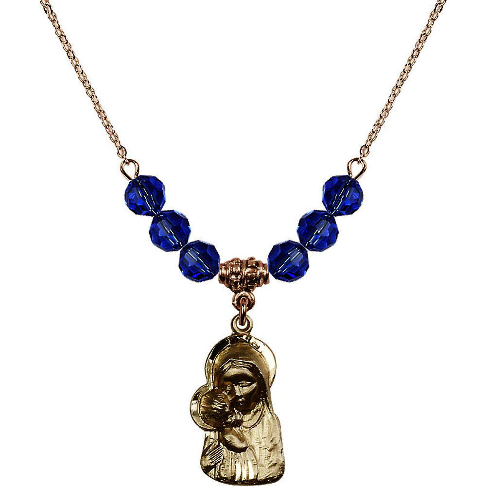 18-Inch Hamilton Gold Plated Necklace with 6mm Blue September Birth Month Stone Beads and Madonna & Child Charm by