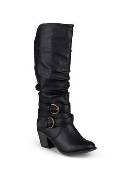 ec5658195 Product Image Women's Wide Calf Slouch Buckle High Heel Boots