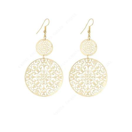 Twinkle Flowers Earrings (JOYFELL 1 Pair Hollow Round Dangle Earrings Women Flowers Round Drop Earrings Hook)