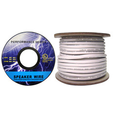 Speaker Cable, White, Pure Copper, CM / Inwall rated, 14/4 (14 AWG 4 Conductor), 105 Strand / 0.16mm, Spool, 50 foot