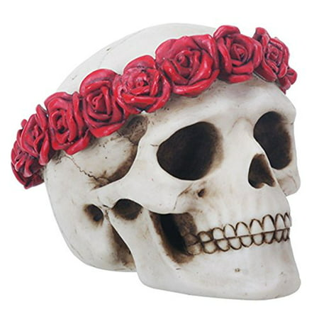 4.5 Inch Day of The Dead Flower Traditional Sugar Skull Display Statue