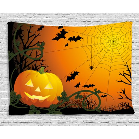 Spider Web Tapestry, Halloween Themed Composition with Pumpkin Leaves Trees Web and Bats, Wall Hanging for Bedroom Living Room Dorm Decor, 60W X 40L Inches, Orange Dark Green Black, by Ambesonne