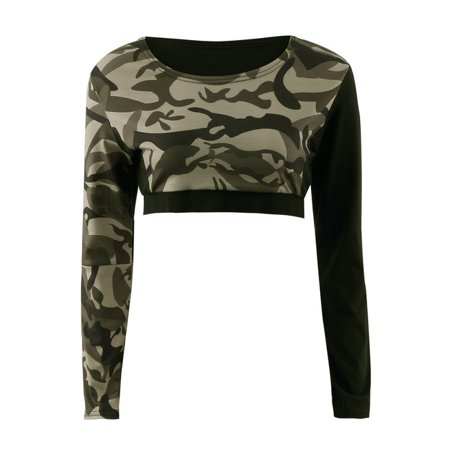 Cropped Stretch Tights - High Quality Summer Women Sexy Set Workout Fitness Ladies Tight Camouflage Soft Crop Tops Trousers