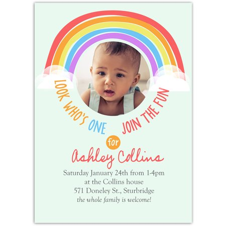 Rainbow One Birthday First - Halloween First Birthday Photo Invitations
