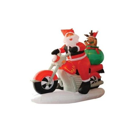 The Holiday Aisle Christmas Inflatable Santa Claus Driving Motorcycle Decoration (Hanukkah Inflatable Decorations)