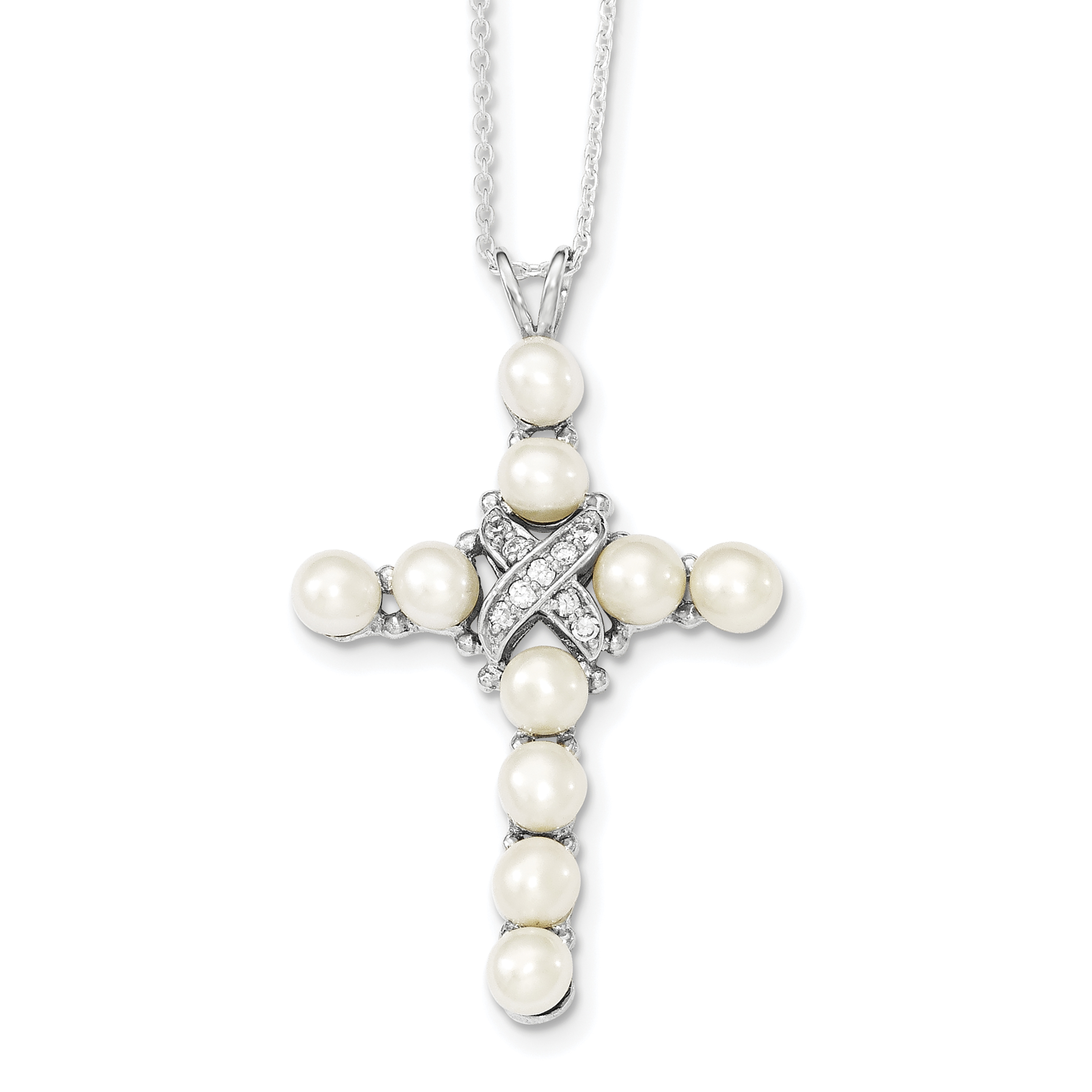 925 Sterling Silver Cubic Zirconia Cz Freshwater Cultured Pearl Cross Religious Chain Necklace Pendant Charm Fine Jewelry Gifts For Women For Her - image 3 de 3