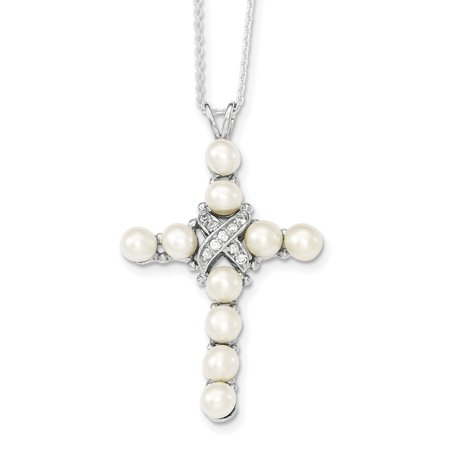 - 925 Sterling Silver Cubic Zirconia Cz Freshwater Cultured Pearl Cross Religious Chain Necklace Pendant Charm Gifts For Women For Her