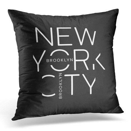 ECCOT Black Tee on The of New York City Brooklyn Linear Design Graphics Gray Label Pillowcase Pillow Cover Cushion Case 16x16 inch