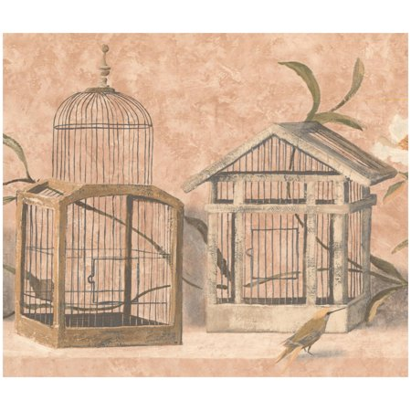 Design Butterscotch (Prepasted Wallpaper Border - Birds and Cages Butterscotch Beige Brown Border Retro Design, Roll 15 ft. x 10 in.)