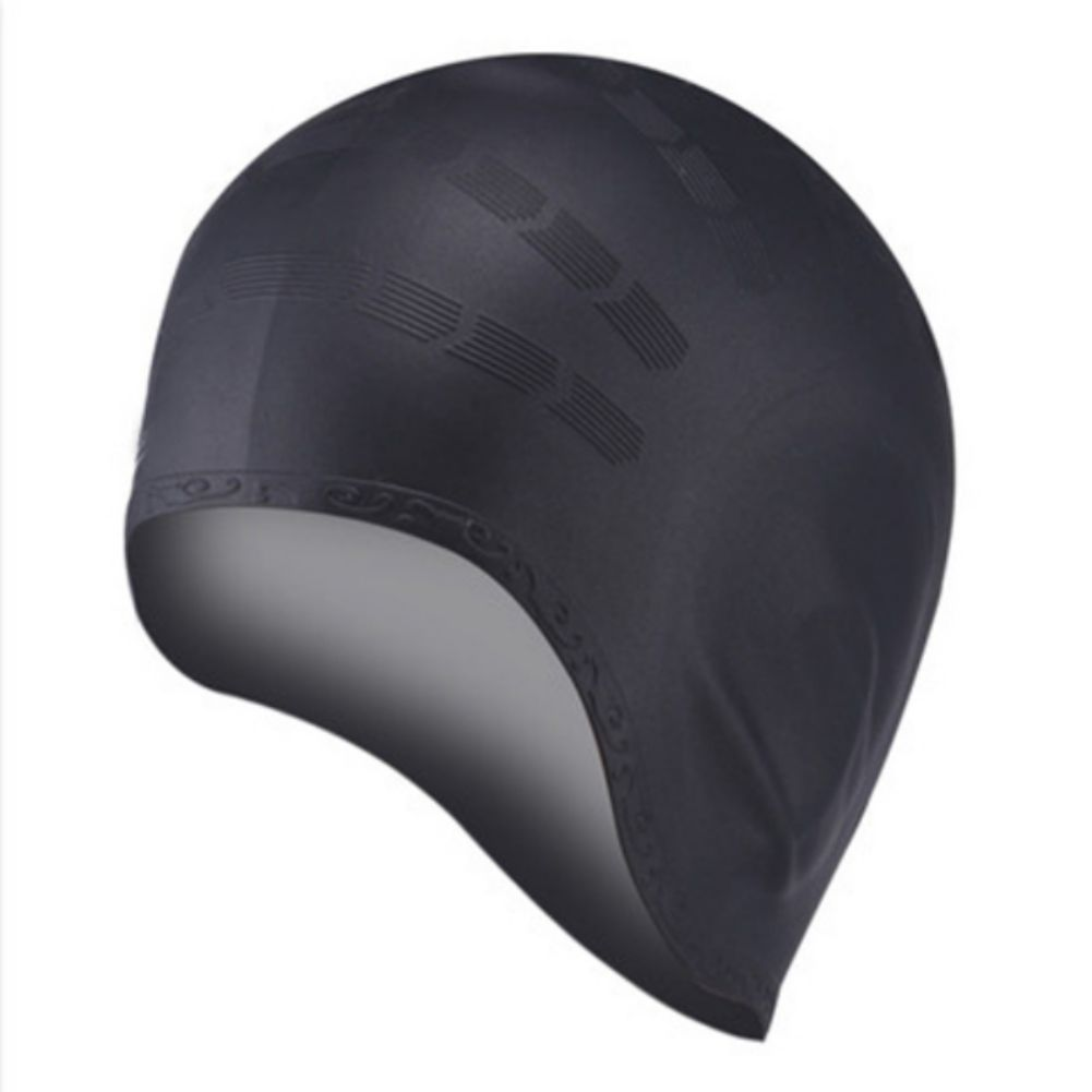 Details about  /New Swim Cap Silicone Waterproof Colour Long Hair With Ear Cup Stretch Hat