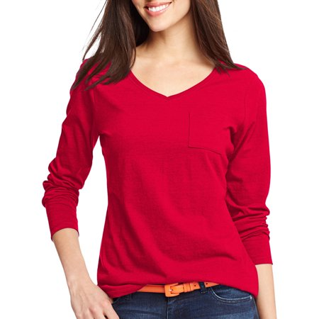 Hanes Women 39 S V Neck Long Sleeve Pocket T Shirt