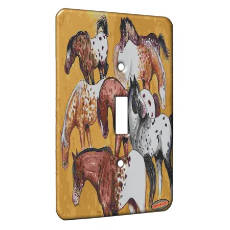 KuzmarK™ Single Gang Toggle Switch Wall Plate - Appaloosa Horses Seeing Spots Horse Art by Denise Every ()