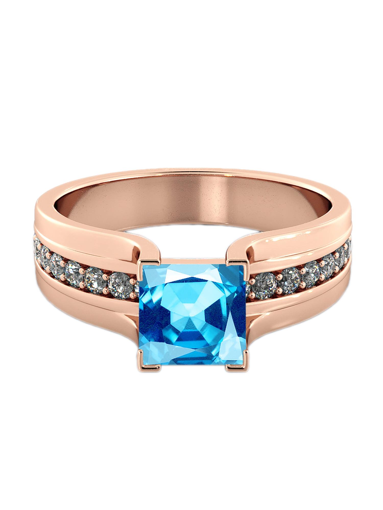 Aquamarine 5.20 ctw Ring with Diamonds 14K Rose Gold Bridge Channel set Princess by Diamonds Mine