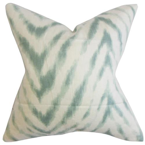 The Pillow Collection Quay Zigzag Down Fill Throw Pillow Aqua Blue