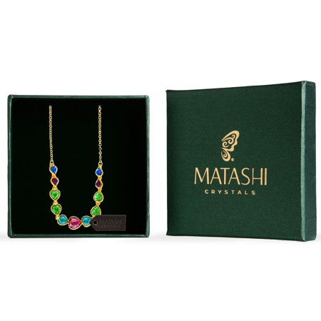 Matashi Champagne Gold Plated Necklace with String of Hearts Design with 14 Inch Extendable Chain and High Quality Multicolored Crystals