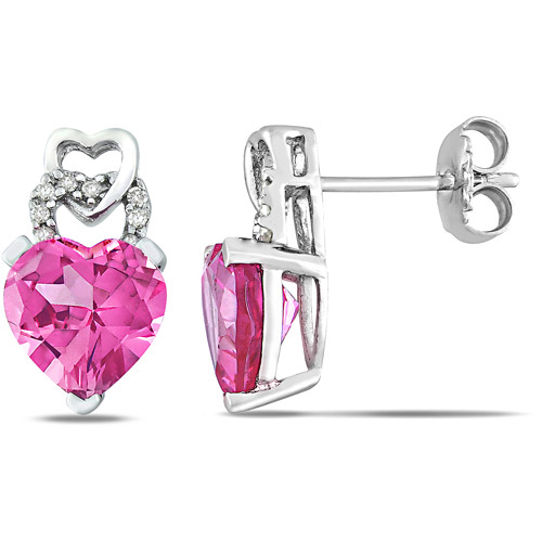 4-1/2 Carat T.G.W. Created Pink Sapphire and Diamond Accent Drop Earrings in Sterling Silver
